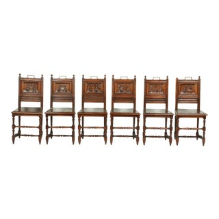 1920's Set of Six French Renaissance Carved Oak Dining Room Chairs For Sale