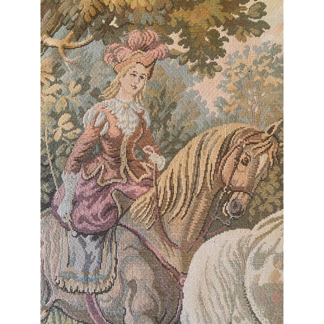 Textile Tapestry of Renaissance Gentleman and Lady on Horseback For Sale - Image 7 of 8