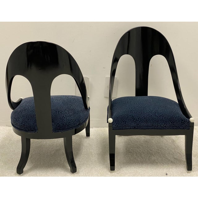 1960s Lacquered Modern Horseshoe Back Chairs Att. To Michael Taylor for Baker - a Pair For Sale - Image 5 of 8