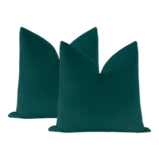 "22"" Peacock Velvet Pillows - a Pair For Sale"