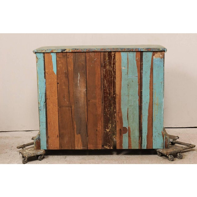 Custom Vintage Italian Style Two-Door Painted Wood American Buffet Console For Sale - Image 9 of 10