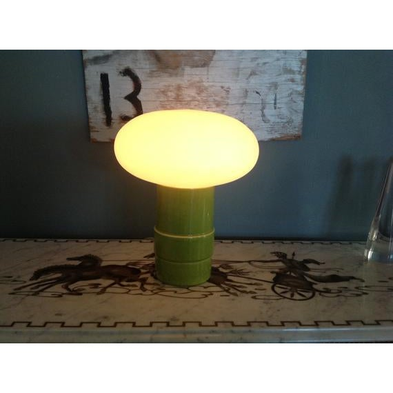 Gorgeous Italian mushroom lamp featuring the original heavy thick frosted handblown glass with a beautiful ceramic Italian...