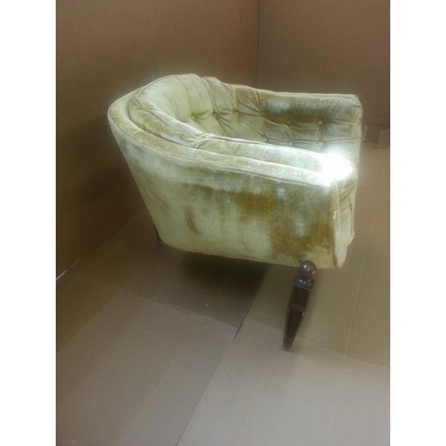 Gio Ponti Original Tufted & Tucked Gold Velvet Tripod Club Chair - Image 5 of 11