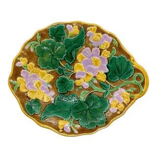 English Majolica Geranium Dessert Tray Glazed in Green, Pink, Yellow, Ca. 1880 For Sale