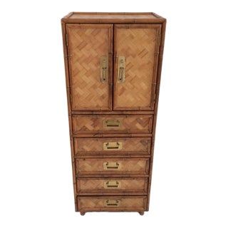 1980s Boho Chic Rattan Highboy Dresser For Sale