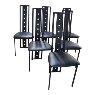 Modern Macintosh Style Iron Dining Chairs- Set of 6 For Sale