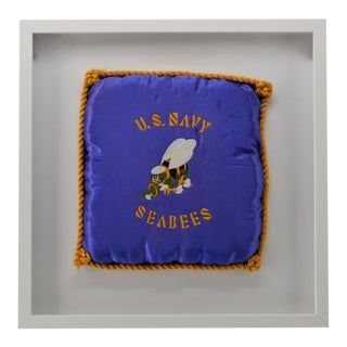 Vintage Us Navy Pillow, Embroidered For Sale
