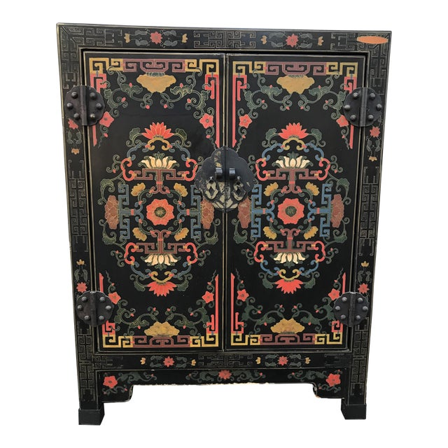 Hand Painted Chinoiserie Cabinet For Sale