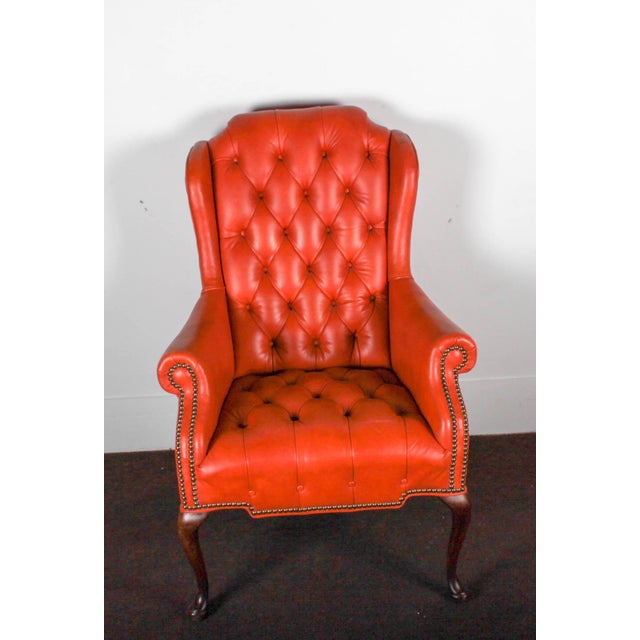 Orange Tufted Leather Queen Anne Mahogany Armchair - Image 8 of 11