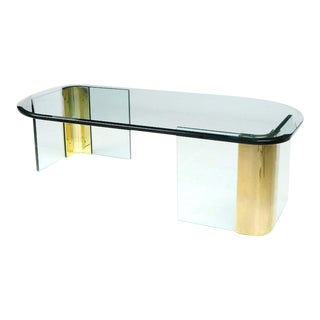Asymmetrical Glass & Brass Cocktail Table In The Manner Of Pace For Sale