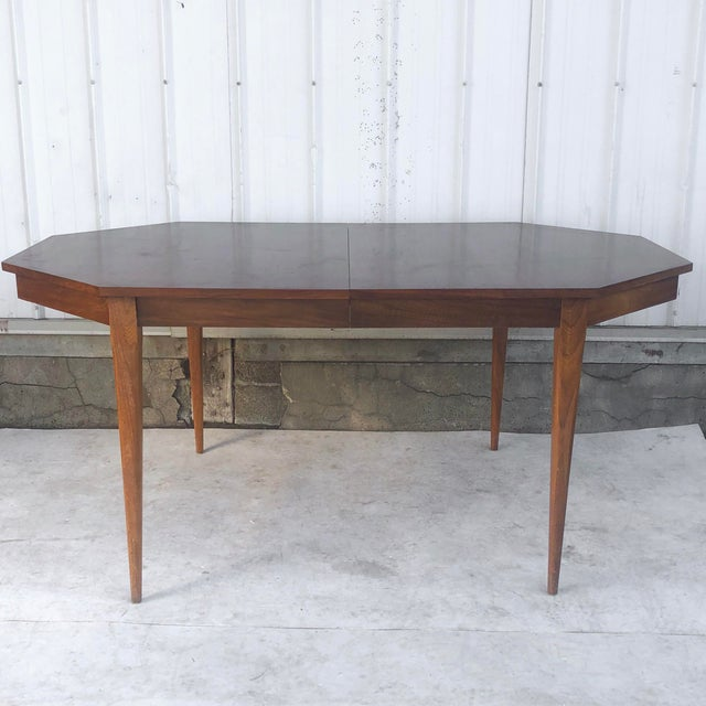 Mid-Century Modern Dining Room Table With Leaf For Sale - Image 13 of 13