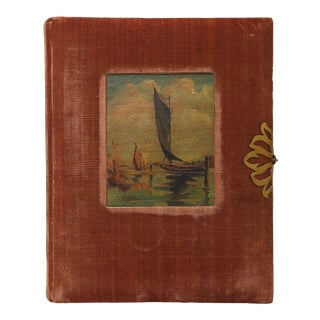 Antique Velvet Album & Sailboat Painting Never Used For Sale
