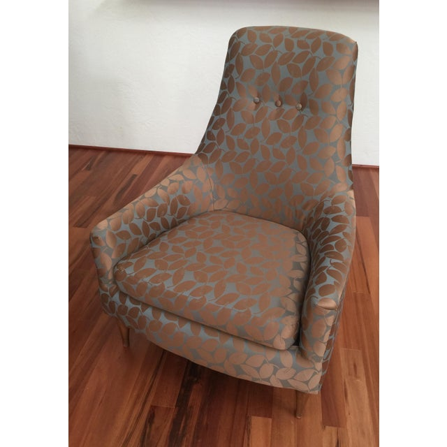 Mid-Century Modern Silk Leaf Upholstered Chair For Sale - Image 11 of 12
