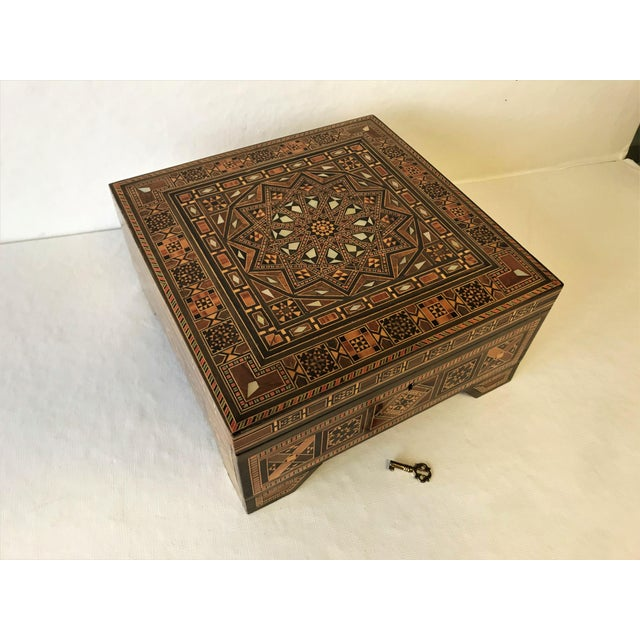 Turkish Inlaid Marquetry Mosaic Box With Key For Sale - Image 13 of 13