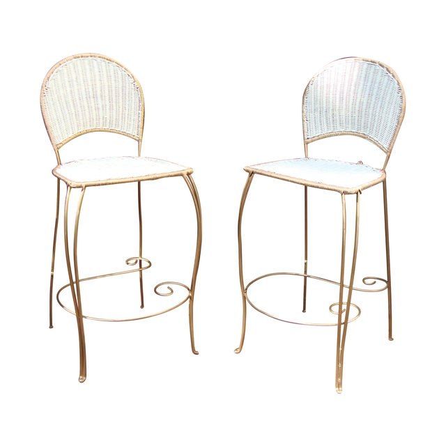Gilt Wicker Wrought Iron Bar Stools - A Pair - Image 1 of 11