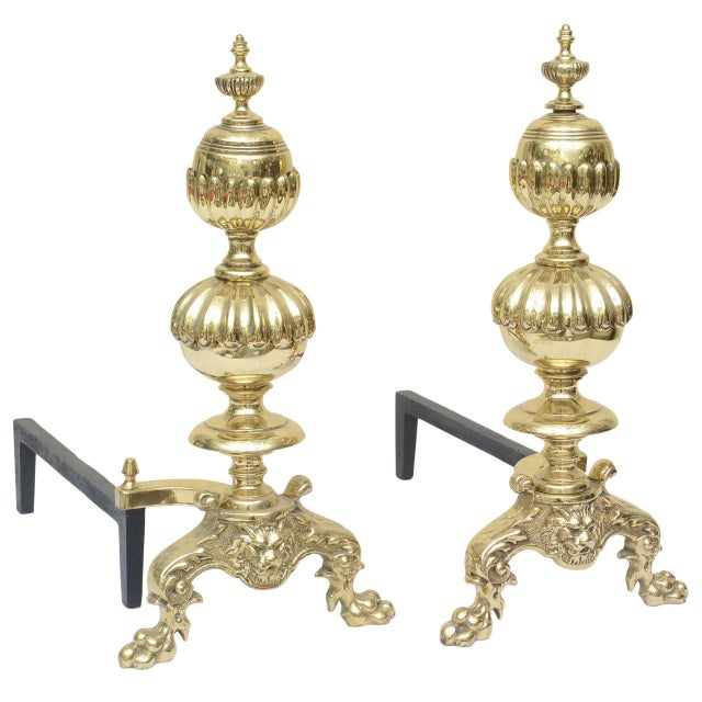 Large Georgian Style Andirons - a Pair For Sale