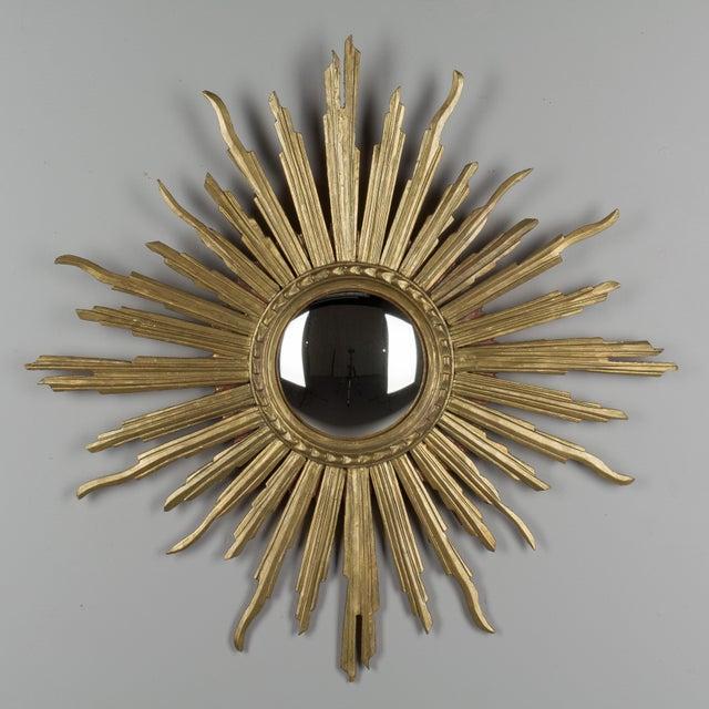 Gold Vintage Mid-Century Italian Giltwood Sunburst Mirror For Sale - Image 8 of 8