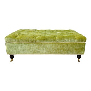 19th Century Vintage French Green Scalamandré Velvet Ottoman For Sale
