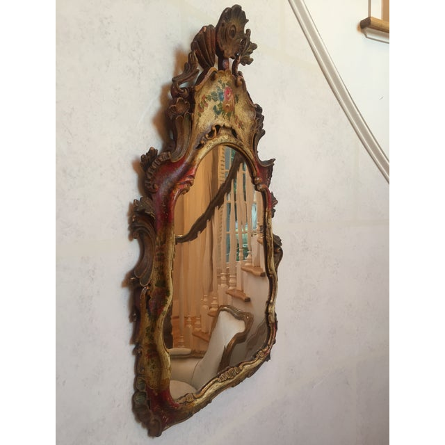 Antique Venetian Hand-Painted Wooden Mirror For Sale In Atlanta - Image 6 of 8