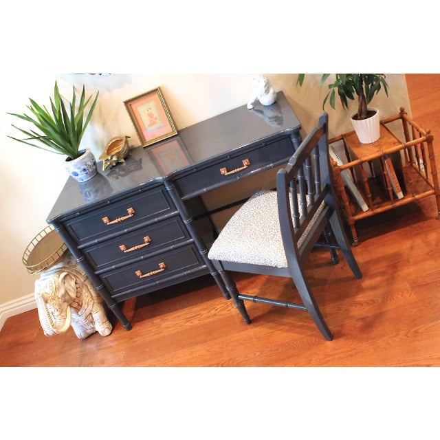 Fabric Henry Link Bali Hai Faux Bamboo Desk and Chair Set For Sale - Image 7 of 11