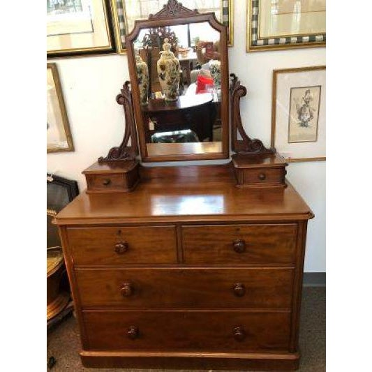 Brown English Antique Mahogany Chest of Drawers With Swing Mirror For Sale - Image 8 of 8