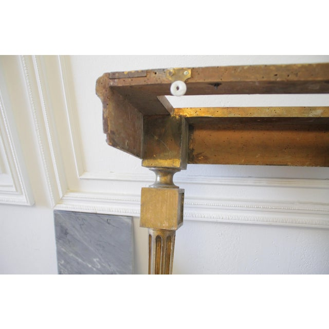 Mid 20th Century 20th Century Louis XVI Style Petite Giltwood Wall Console Table With Stone Top For Sale - Image 5 of 10