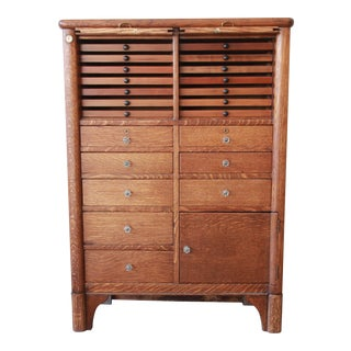 Antique Oak 22-Drawer Dental Cabinet For Sale