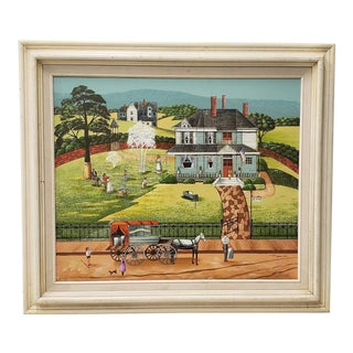 Vintage Americana Folk Art Oil Painting by R. Smith For Sale