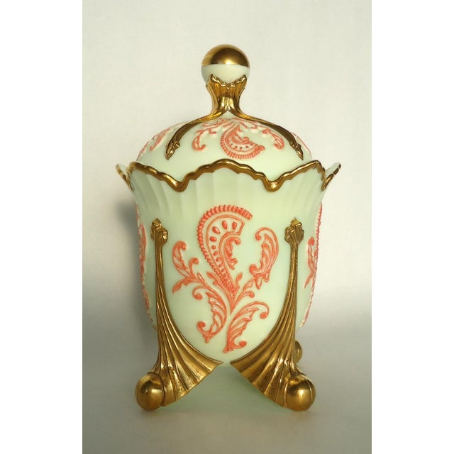Gold & Coral Custard Glass Lidded Dish - Image 2 of 8