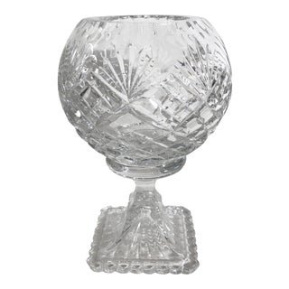 Vintage Cut Lead Crystal Rose Bowl on Stand Antique Vase Clear Brilliant Cut Glass For Sale