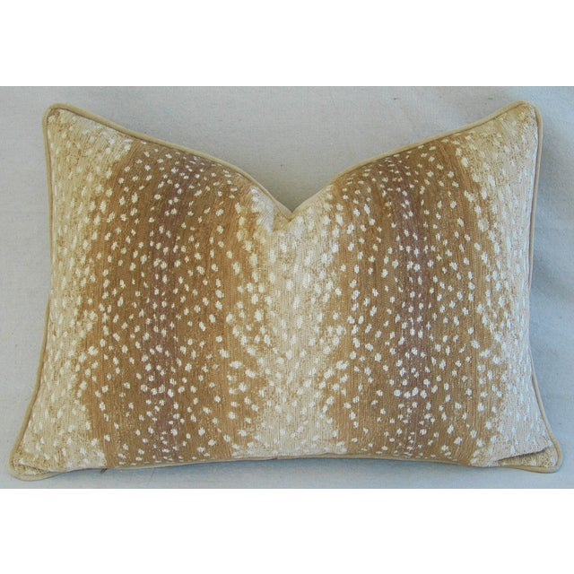 """Large Custom Fawn Speckled Spot Velvet Feather/Down Lumbar Pillow 26"""" X 18"""" For Sale - Image 4 of 8"""
