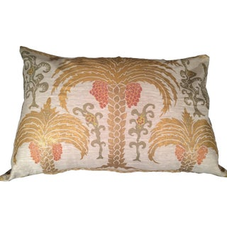 Three Palms Sateen Linen Pillow For Sale