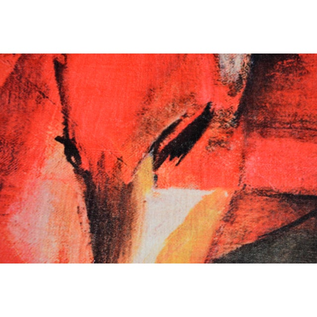 """Red Franz Marc """"Foxes"""" Inspired Area Rug - 4′10″ x 5′9″ For Sale - Image 8 of 10"""