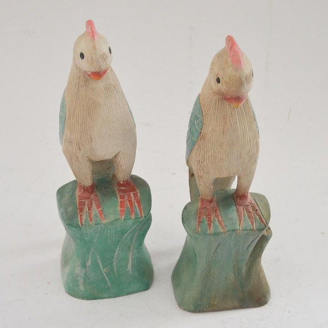 1970s Figurative Hand Carved Wooden Cockatoo Shelf Sitters - a Pair For Sale - Image 13 of 13