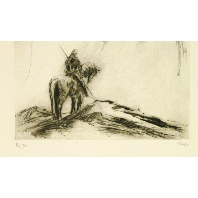 Thought provoking expressionist etching of a man reflecting on horseback in an inspired landscape of the Opera Parsifal by...