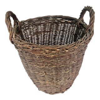 1940s Grape Gathering Basket with Double Handles For Sale