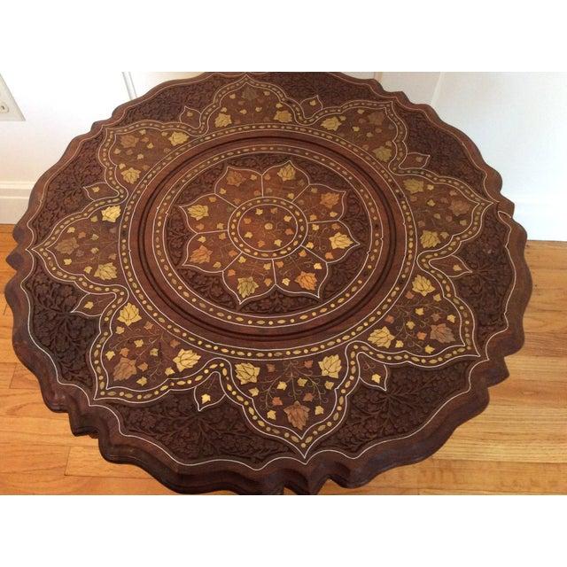 Vintage Carved Wood Brass & Copper Inlaid Pedestal Table For Sale - Image 4 of 8