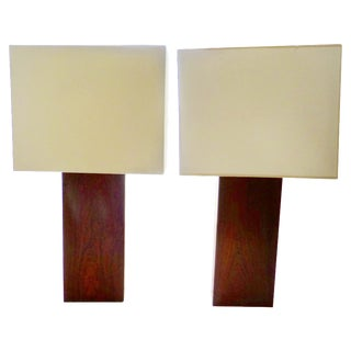 Robert Sonneman Rosewood Table Lamps - A Pair For Sale