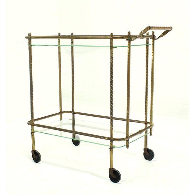 Brass Brass Tube Frame and Glass Rectangular Tea Bar Cart For Sale - Image 7 of 8