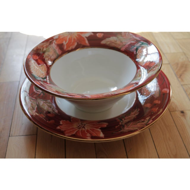 Italian Porcelain Poinsettia Holiday Serving Bowl and Plate For Sale - Image 10 of 11