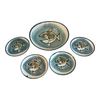 Japanese Fish Bowl Set - 5 Pieces For Sale