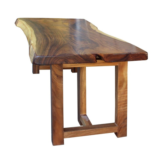 Contemporary Raw Wood Rectangular Plank Table / Desk For Sale - Image 3 of 7