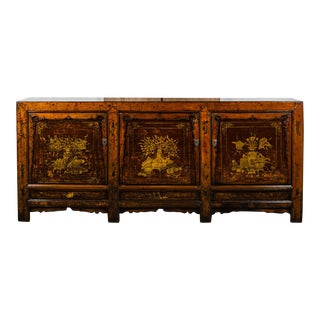 Antique Chinese Lacquered Elm Cabinet For Sale