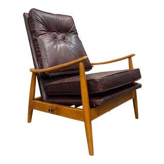1960s Mid Century Modern Milo Baughman Walnut Octa Lounger Recliner in Maroon Leather For Sale