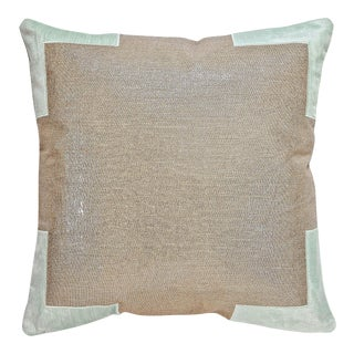 "Piper Collection Metallic Linen & Blue ""Tracy"" Pillow"