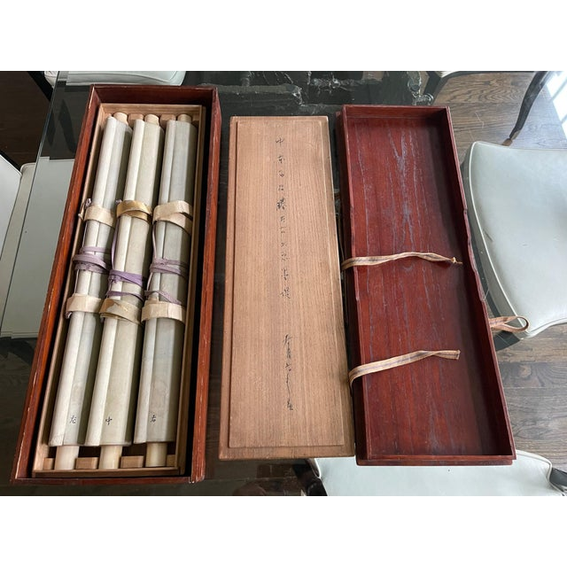 Triptych Scroll Paintings by Watanabe Seitei Meiji Period - Set of 3 For Sale - Image 10 of 13
