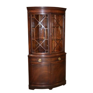 1970s Traditional Drexel Mahogany Traditional Style Bow Front Corner Cabinet For Sale