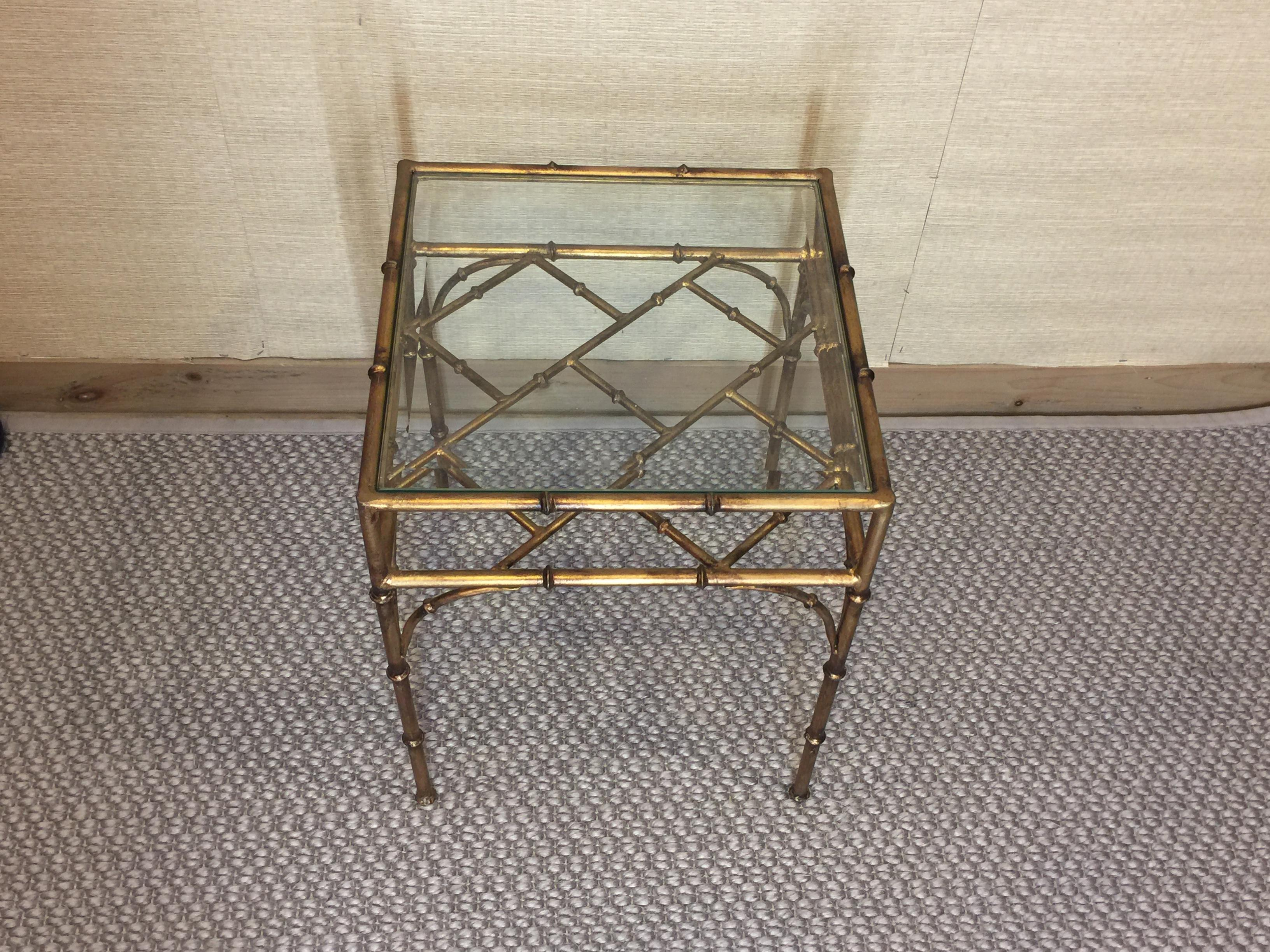 Faux Bamboo Gold Metal Glass Top Side Table For Sale In Boston   Image 6 Of