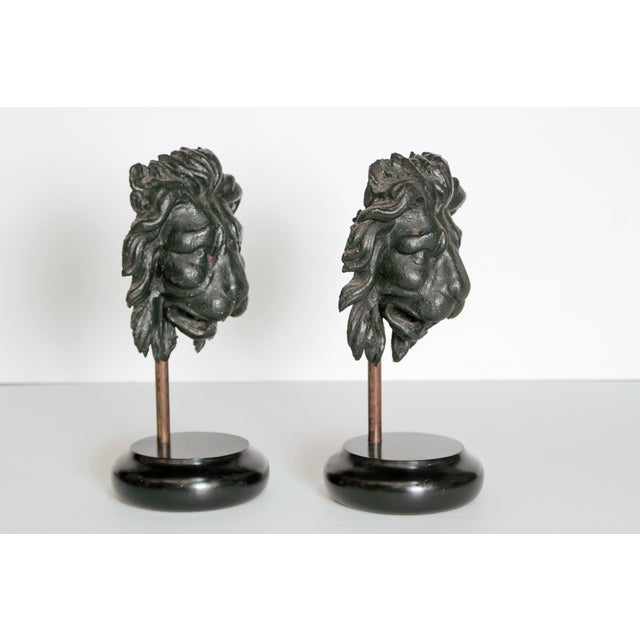 Wood Early 19th Century Pair of Carved Wood Lion Heads For Sale - Image 7 of 13