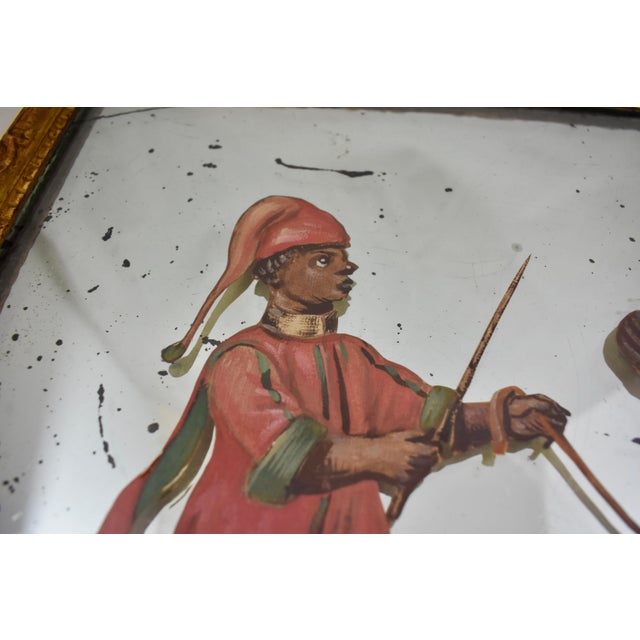 Mid 19th Century 19th C. French Exotic Hand-Painted Decoupage Mirror, Animal Trainer & Bear For Sale - Image 5 of 13